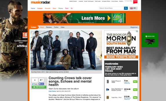 Counting Crows talk cover songs, Echoes and mental health http://bit.ly/countingcrowsinterview